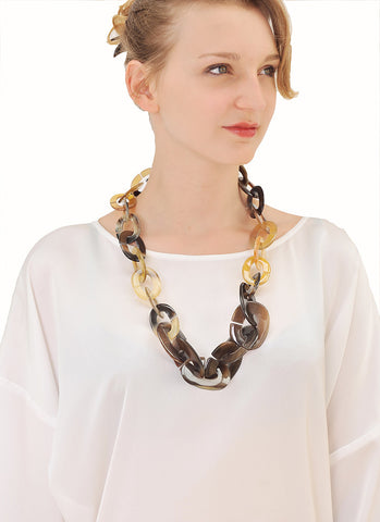 Long chain buffalo Horn necklace