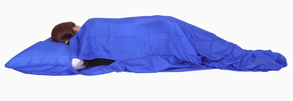 "Sleeping Bag Liner, Travel Sheet, Sleepsack  Blue 100% Pure handicraft Silk  83""x33"""