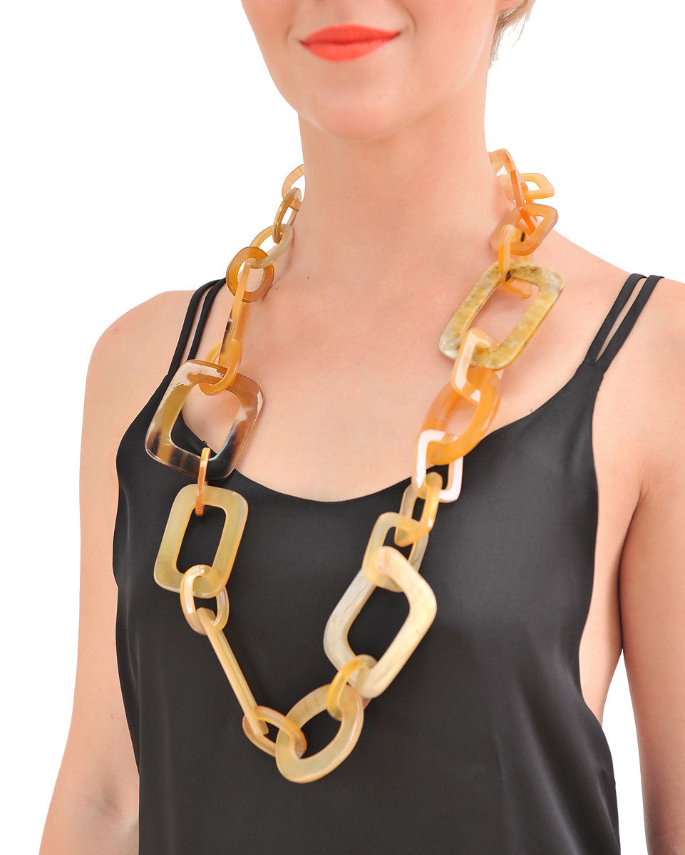 Amber honey Buffalo Horn Necklace