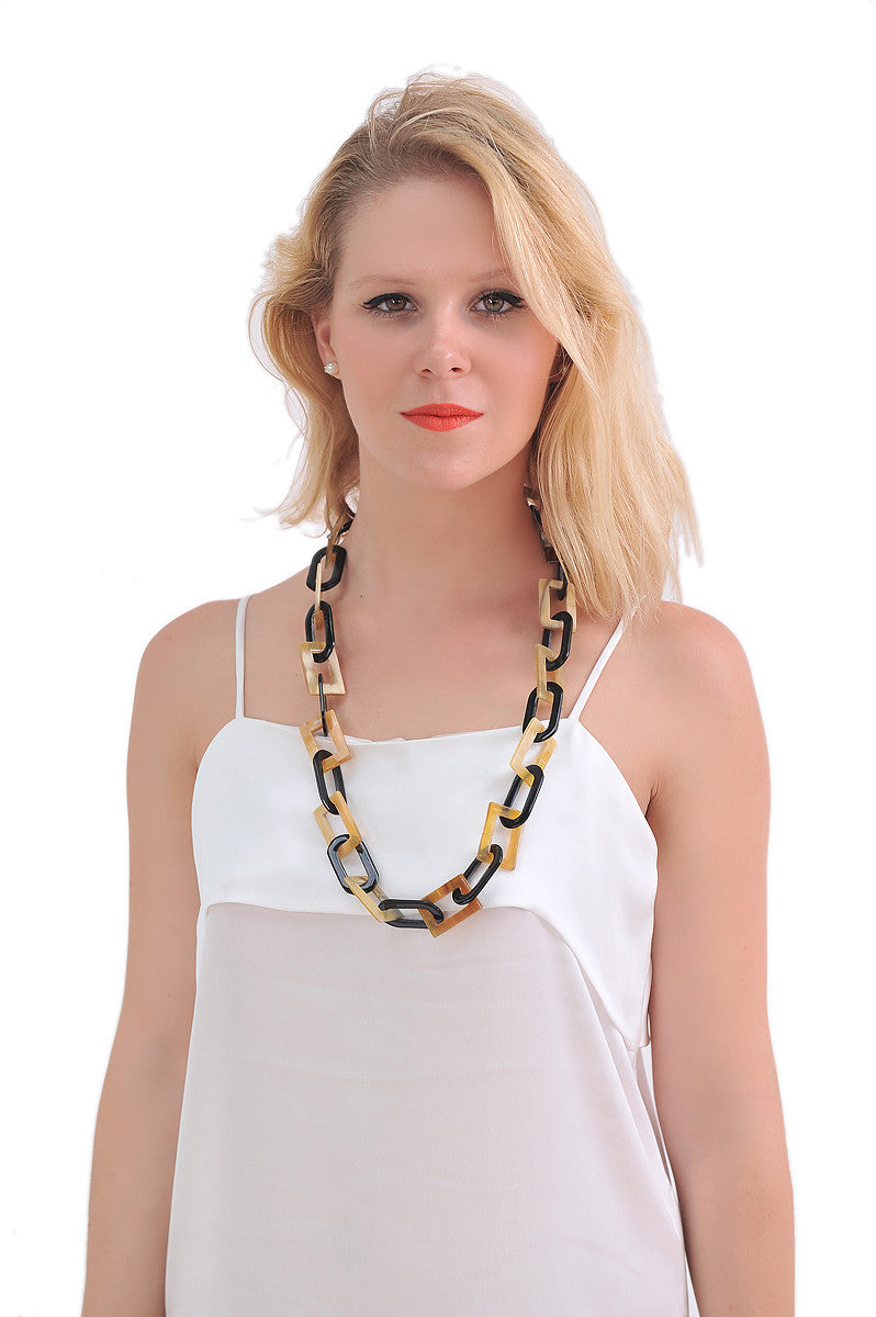 Chain link Buffalo Horn necklace