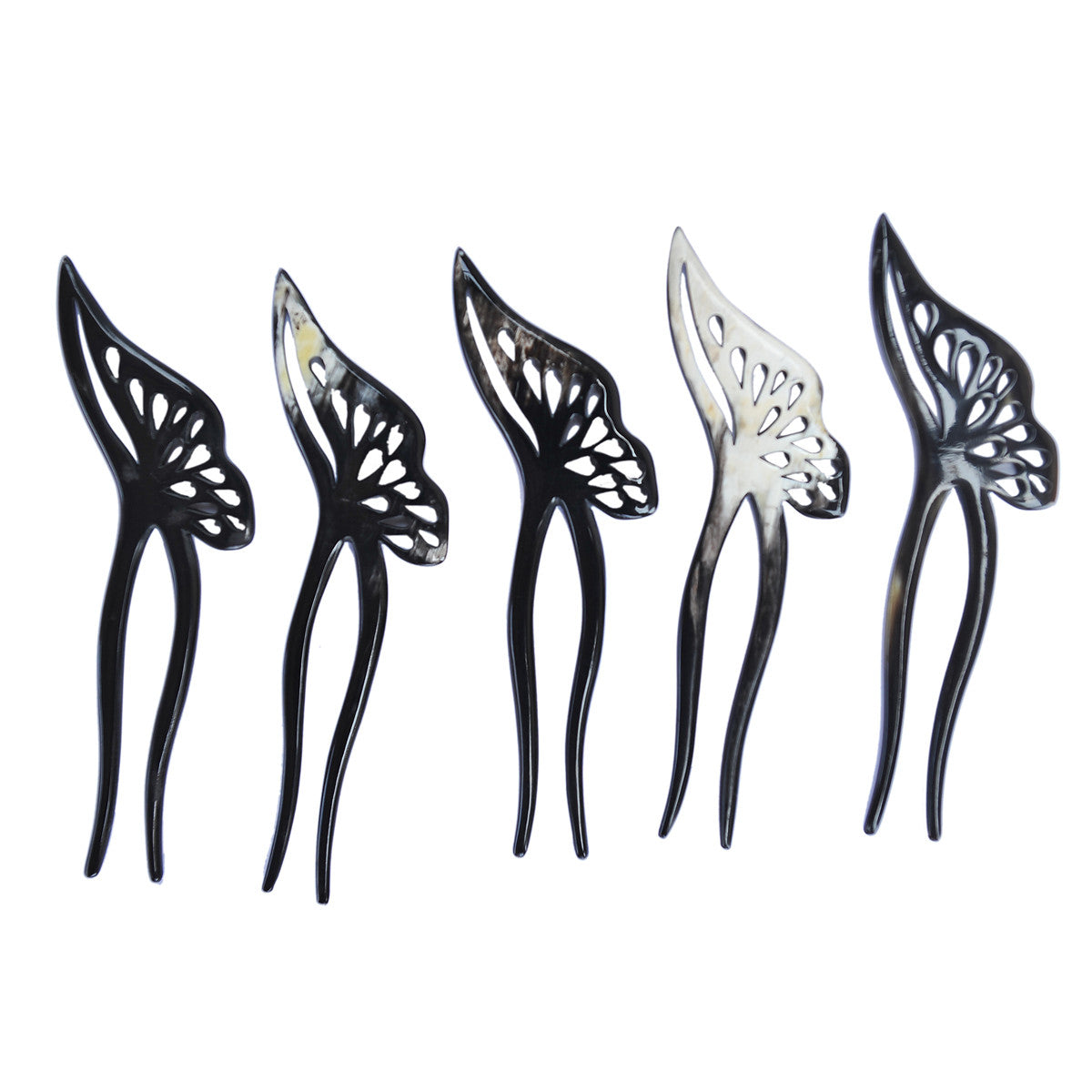 BLACK BUTTERFLY BUFFALO HORN HAIR FORK
