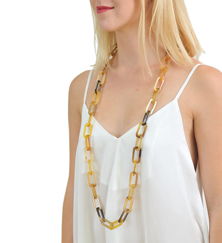 Honey long buffalo horn chain necklace