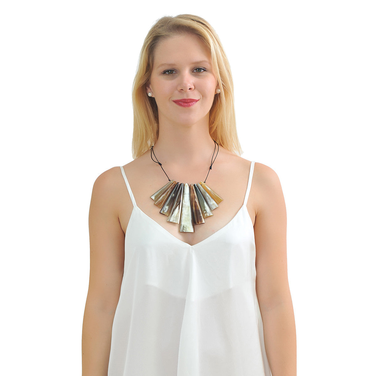 Buffalo horn statement necklace