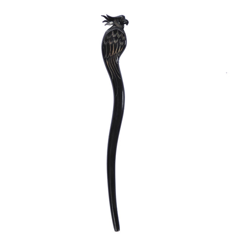 Buffalo horn hair fork carved butterfly