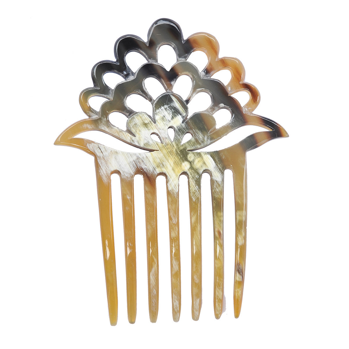 Light Shade 7 prongs Buffalo Horn Hair comb
