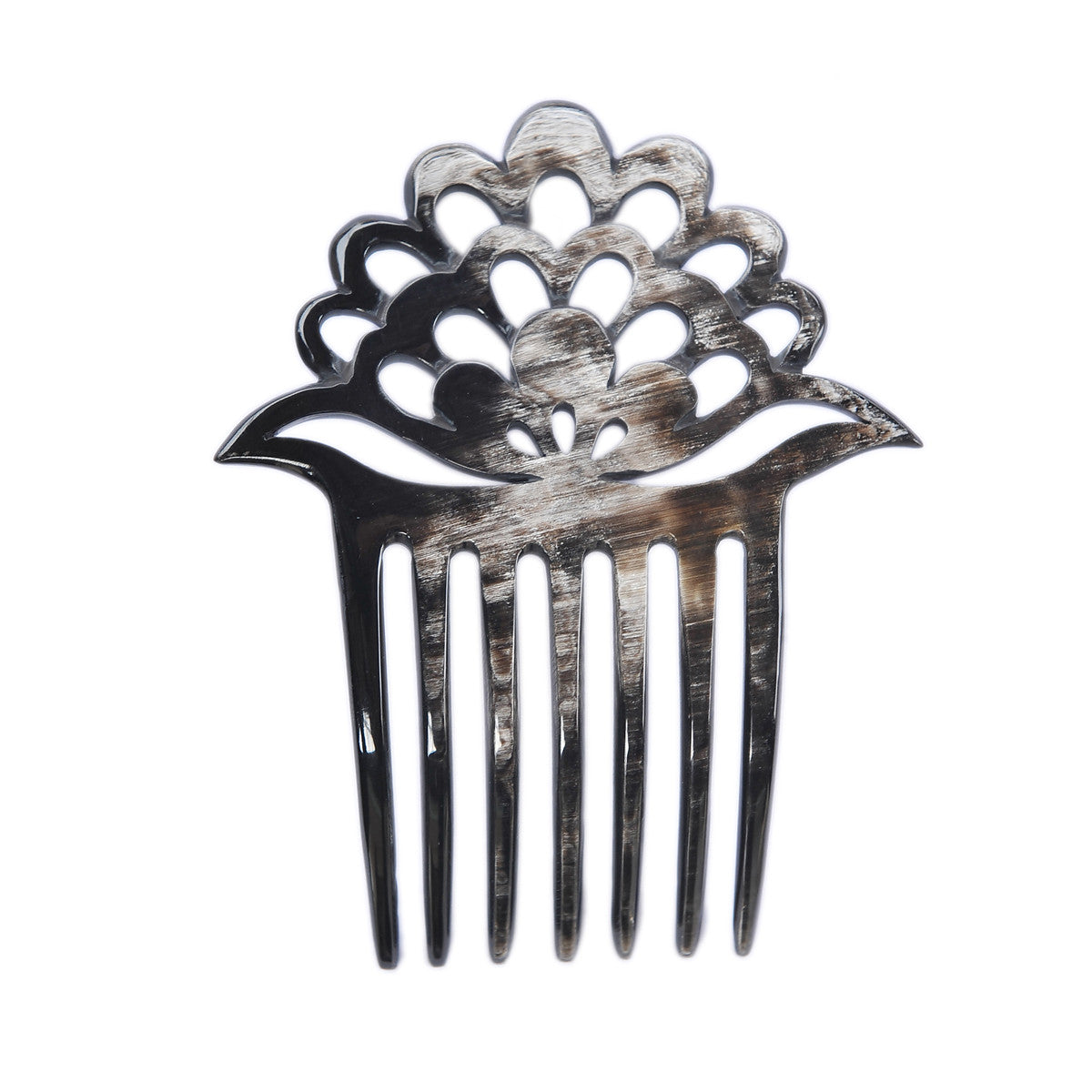 Black, Dark Shade 7 prongs Buffalo Horn Hair comb