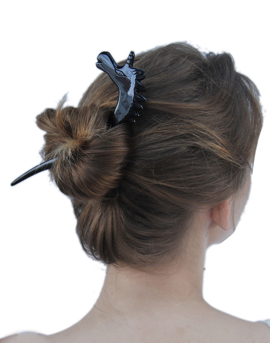Black Buffalo Horn hair stick caved unicorn