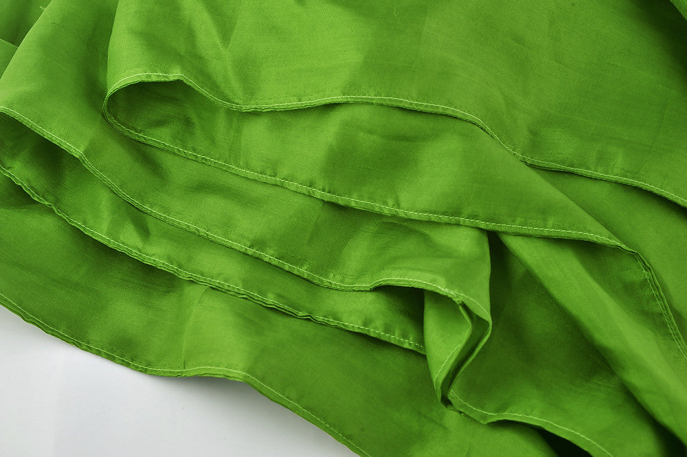 "Sleeping Bag Liner, Travel Sheet, Sleepsack  Lawn Green 100% Pure handicraft Silk  83""x33"""