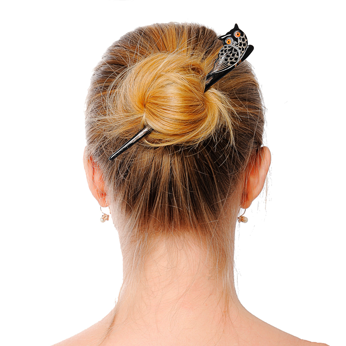 Buffalo Horn Hair Stick - Black Owl