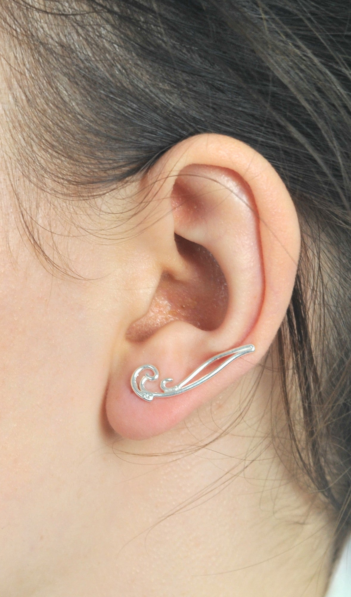 Sterling Silver Waving Sweep up Ear Crawler Ear Climber