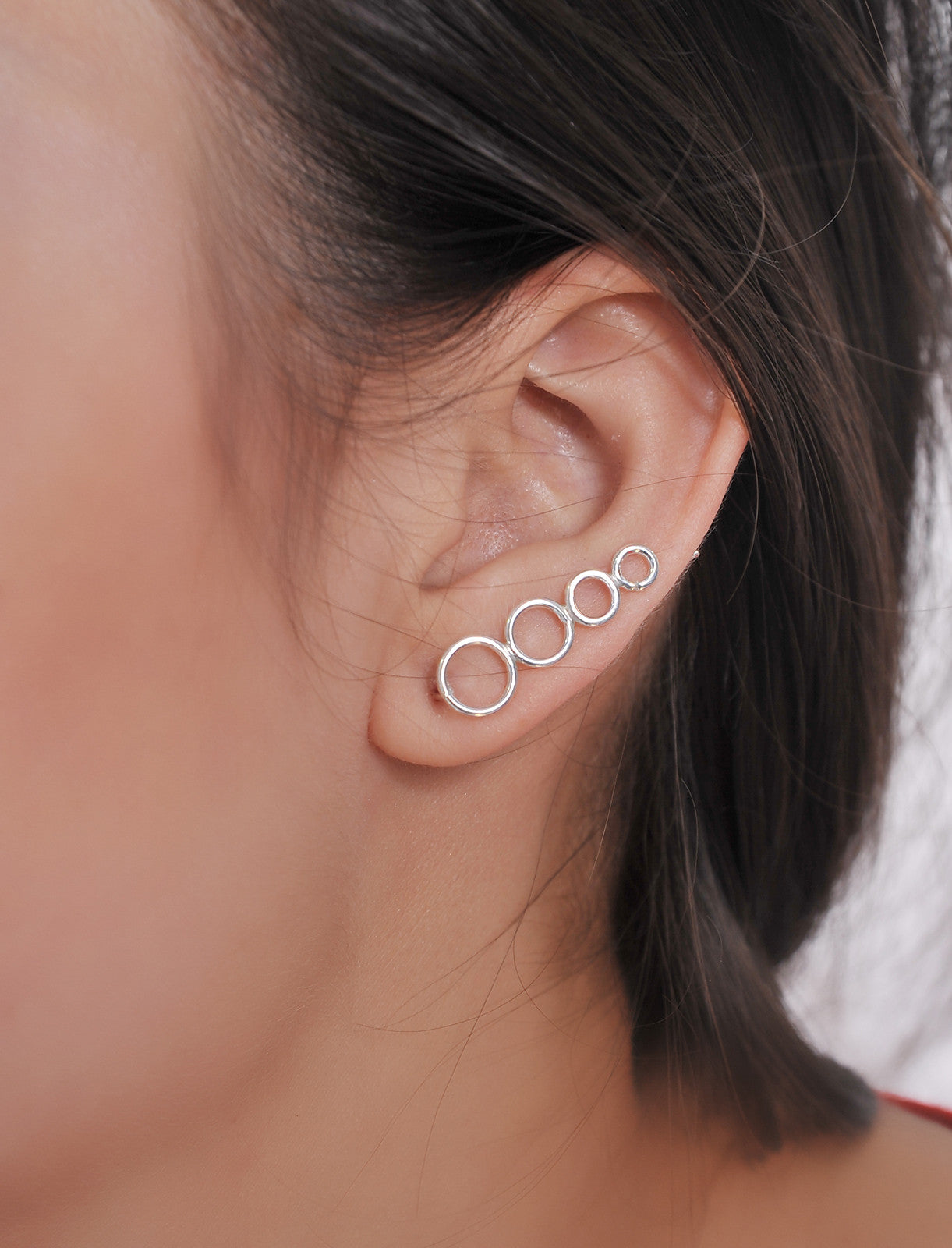 Sterling Silver Circle Sweep up Ear Crawler Ear Climber
