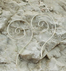 Sterling Silver Swirl  Spiral earrings Wire earrings