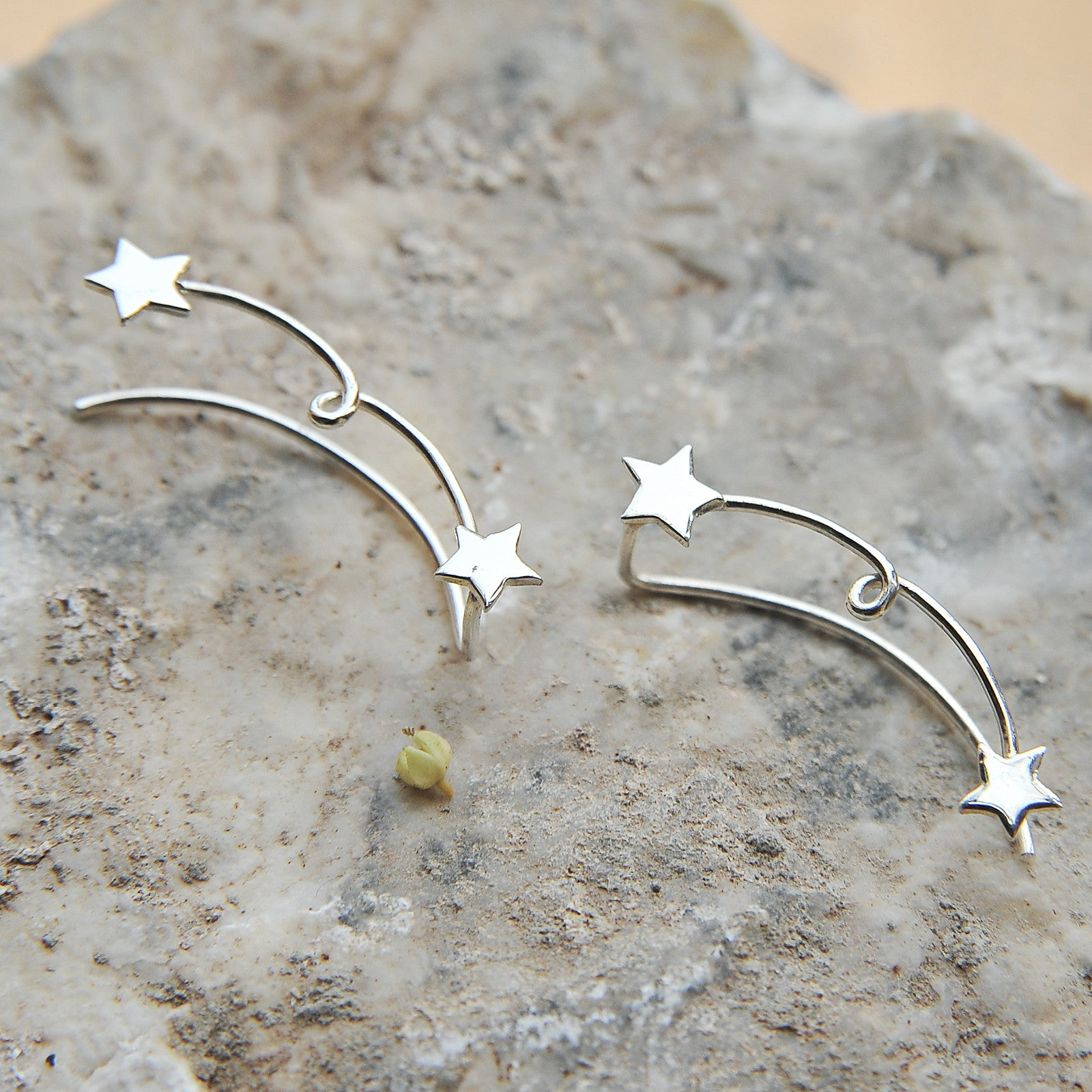 Sterling Silver 2 Star Sweep up Ear Crawler Ear Climber