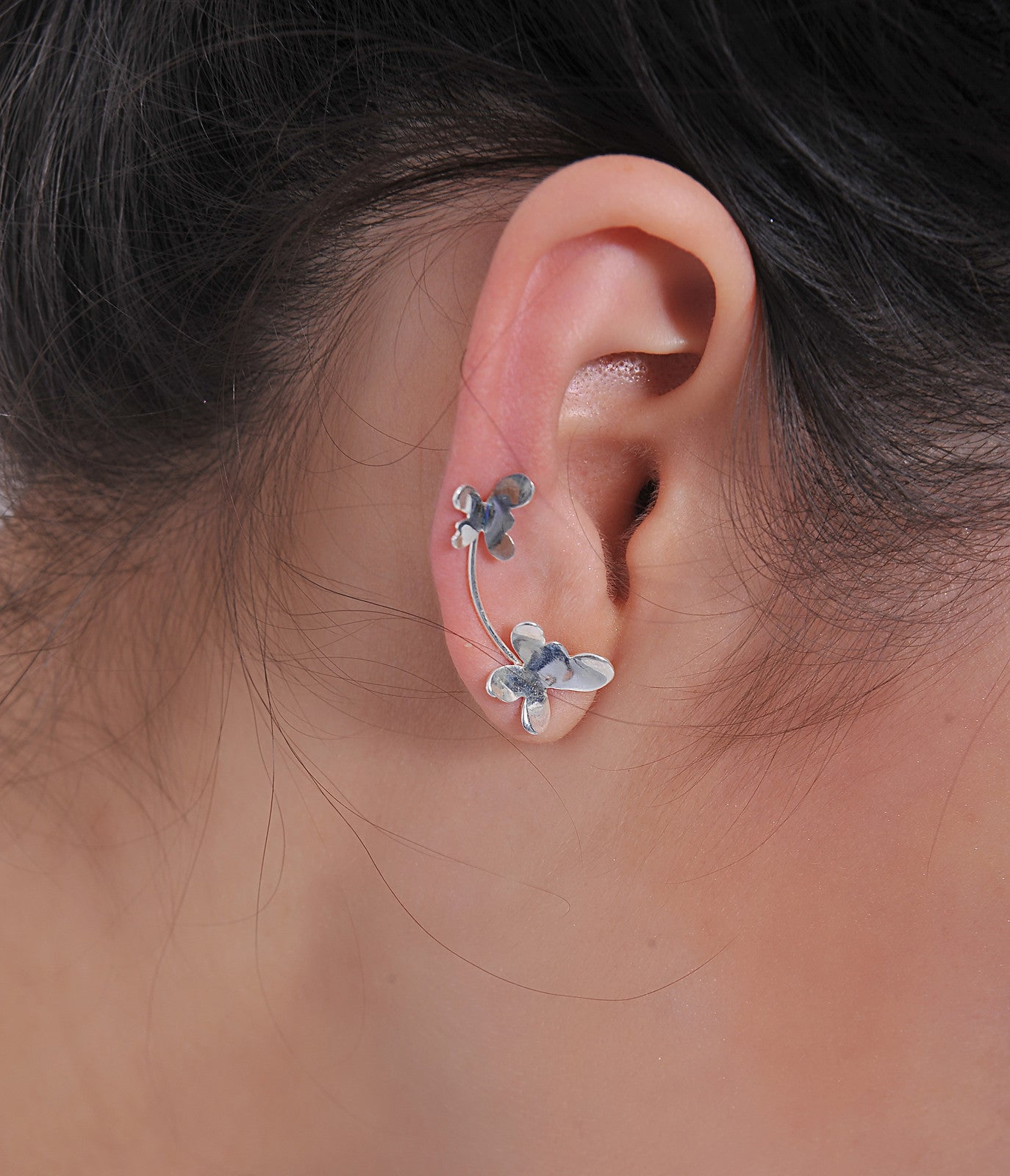 Sterling Silver Butterfly Sweep up Ear Crawler Ear Climber