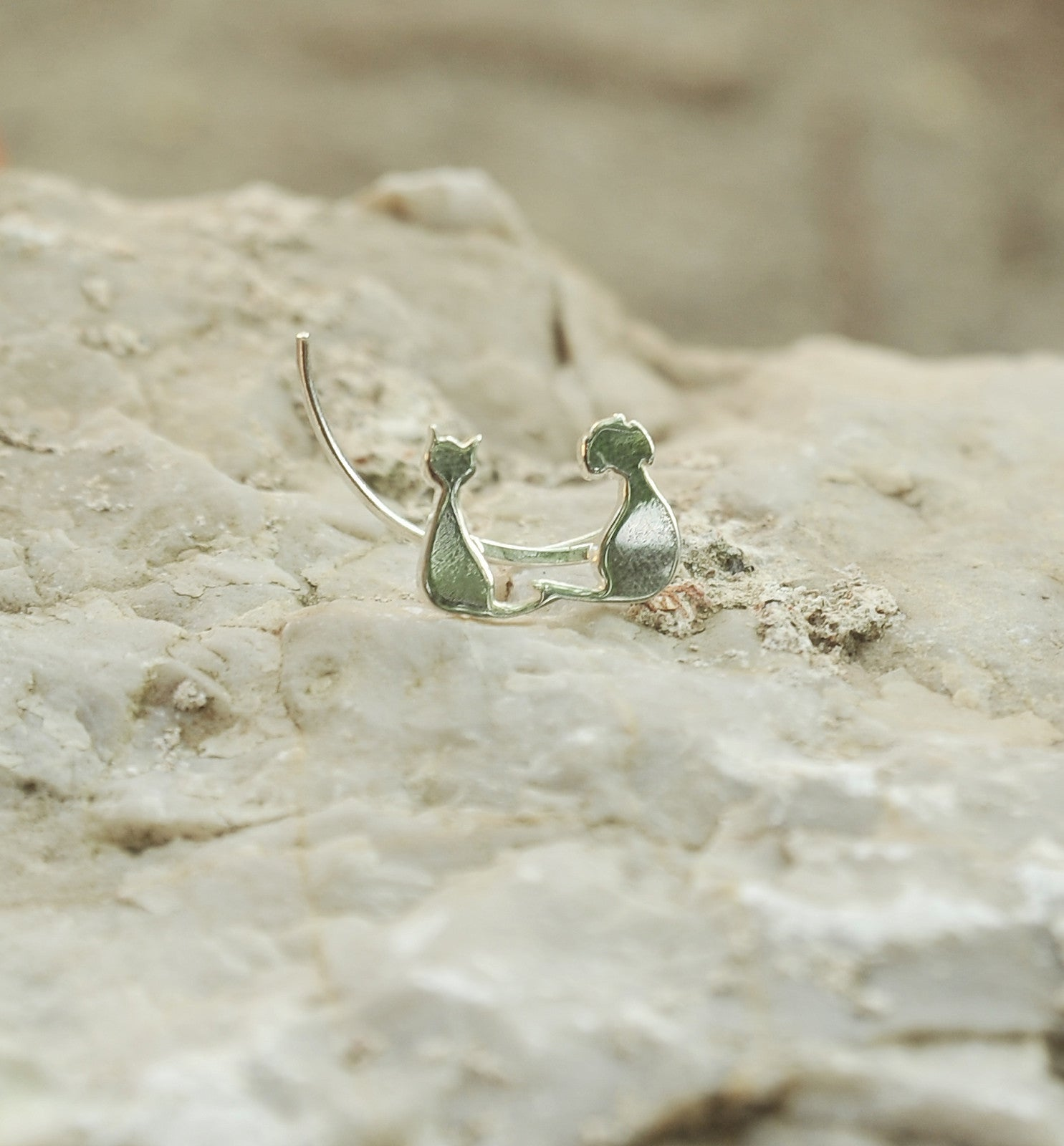 Sterling Silver Cat & Dog Sweep up Ear Crawler Ear Climber