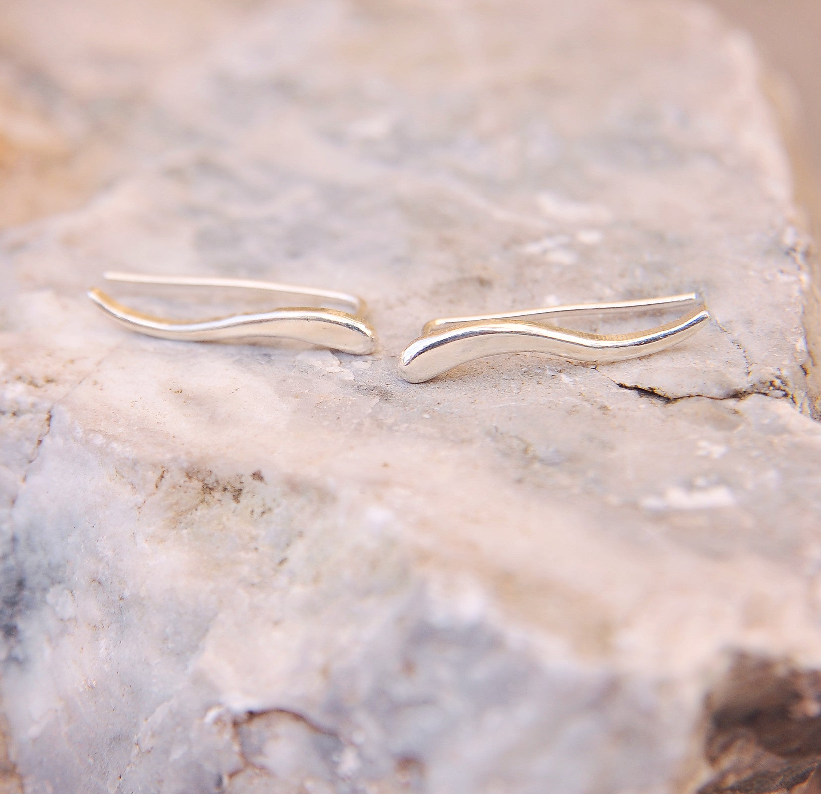 Sterling Silver Long Leaf Ear Crawler Ear Climber