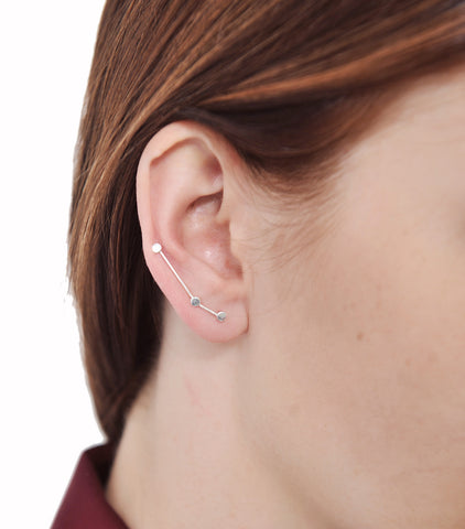 Sterling Silver Cassiopeia Star Sweep up Ear Climber Earrings