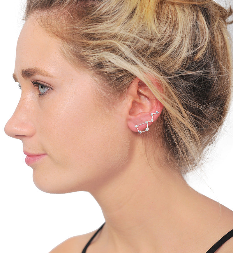 Sterling Silver Ursa Minor Star Ear Climber Earrings