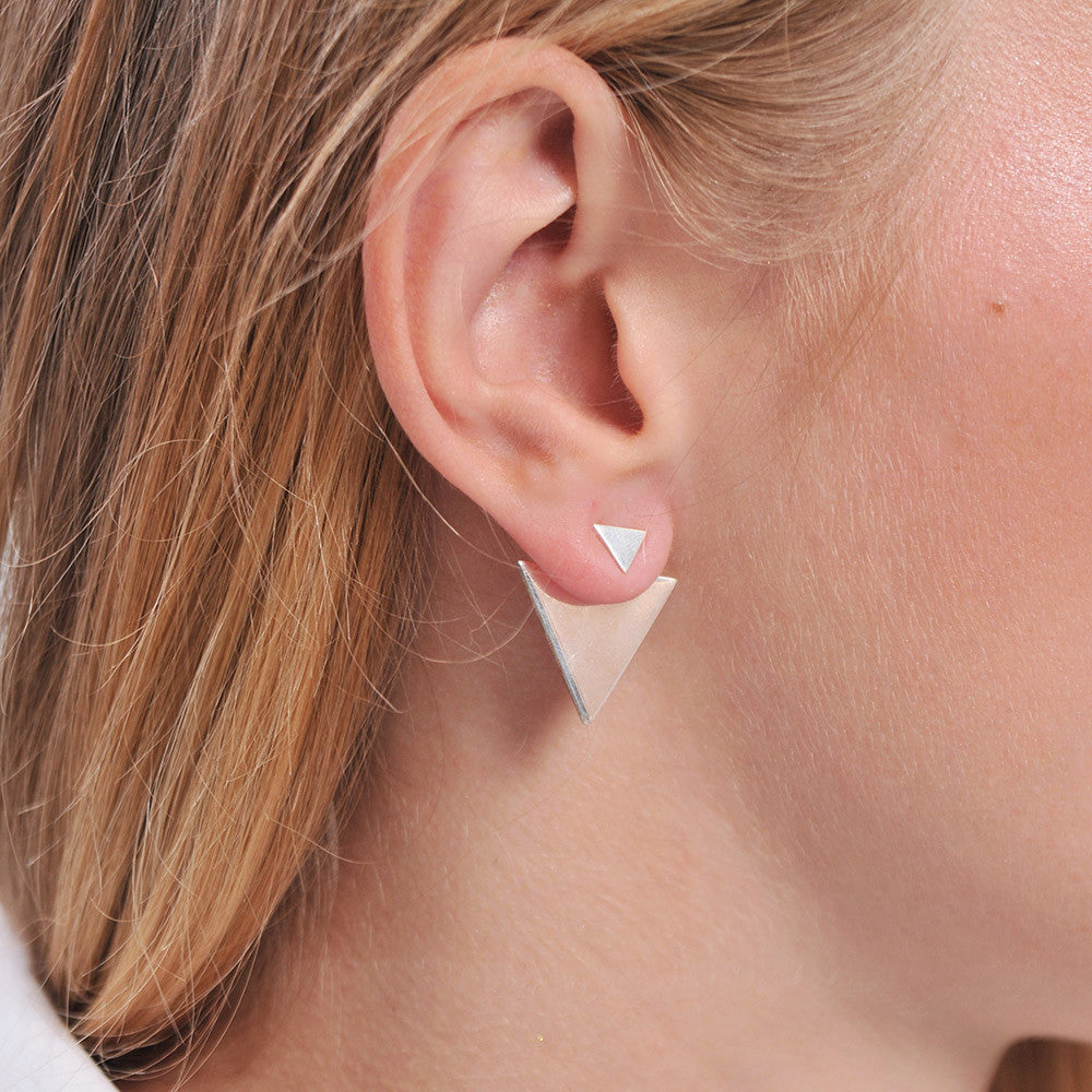 Sterling Silver Triangle Earring Ear Jacket