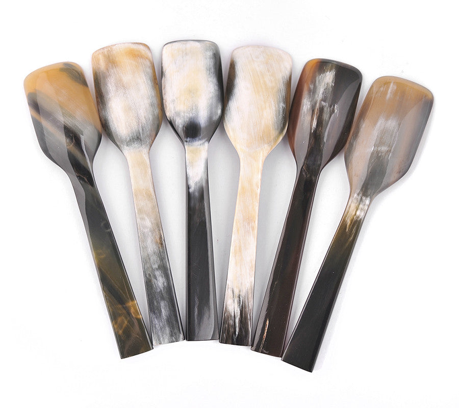 Set of 6 Long Buffalo Horn Caviar Spoons