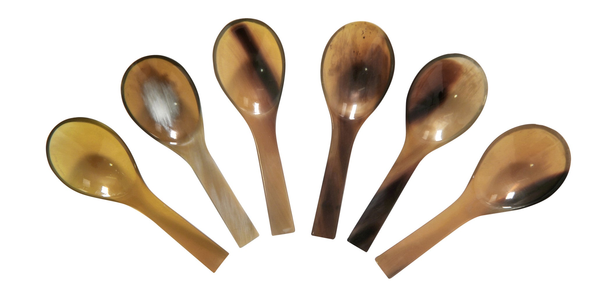 Set of 6 Small Buffalo Horn Salt Mustard Jam Spoons