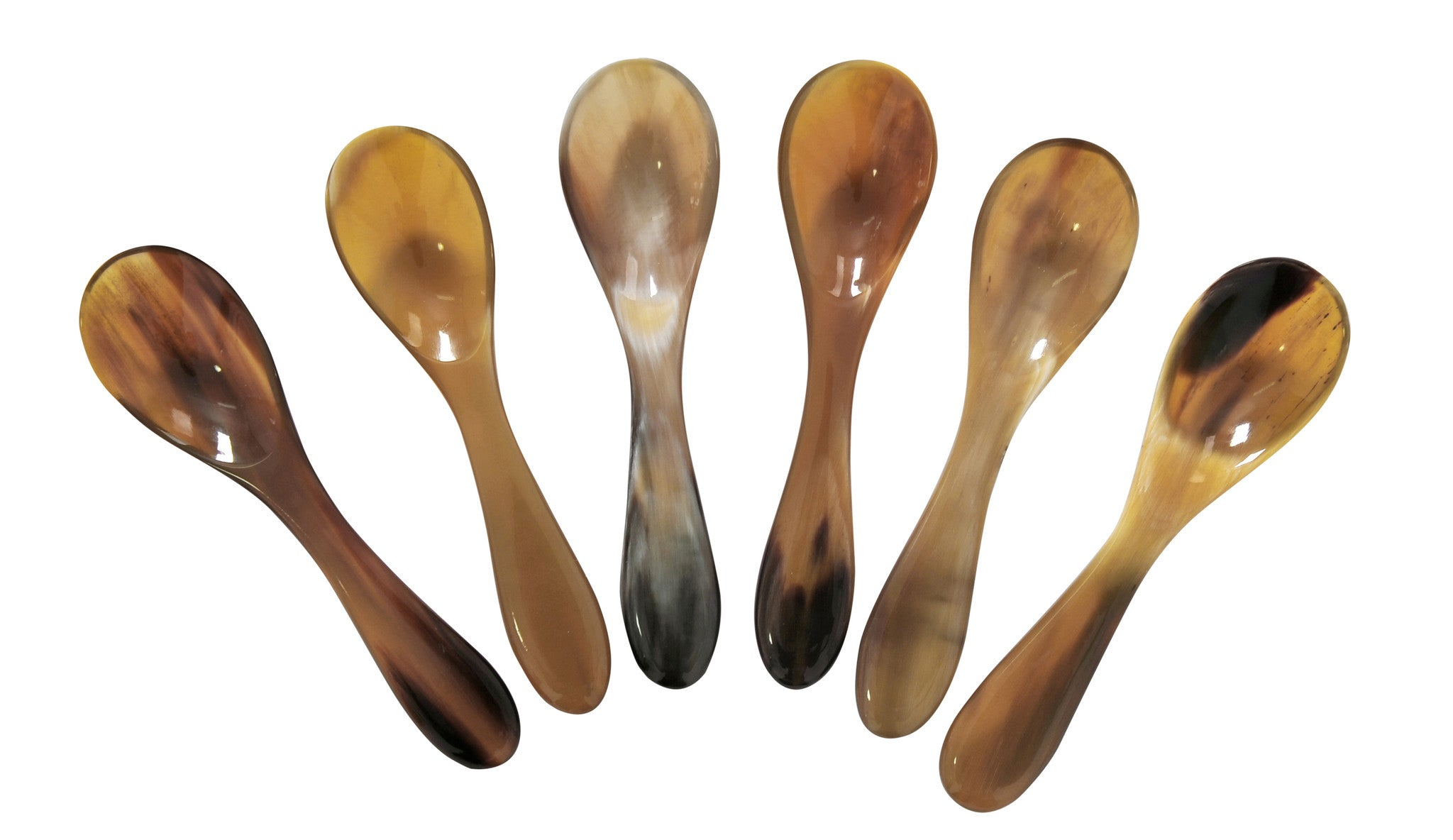 Set of 6 Buffalo Horn Caviar Spoons with Round Handle