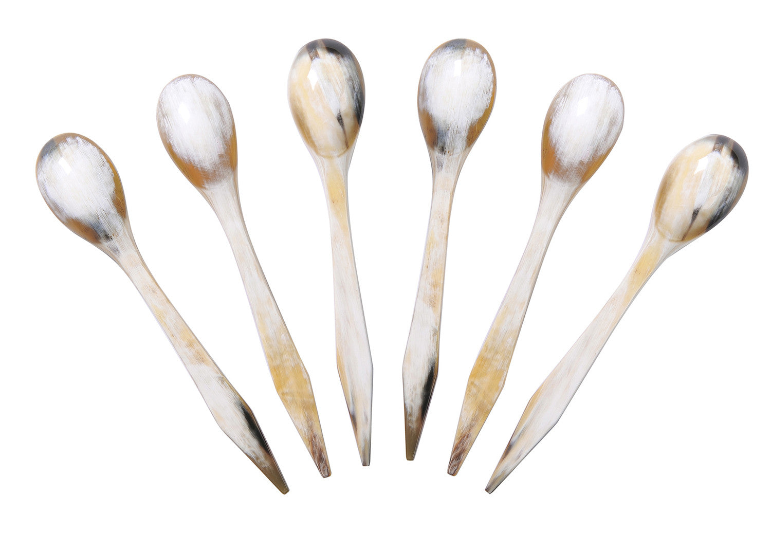 Set of 6 Long Buffalo Horn Jam Spoons