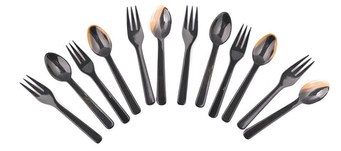 Set of 6 Buffalo Horn Spoon and Fork Sets
