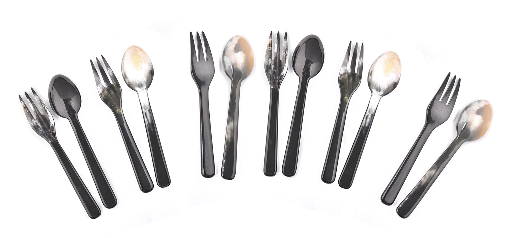 Buffalo Horn Spoon and Fork Set (6 Sets)