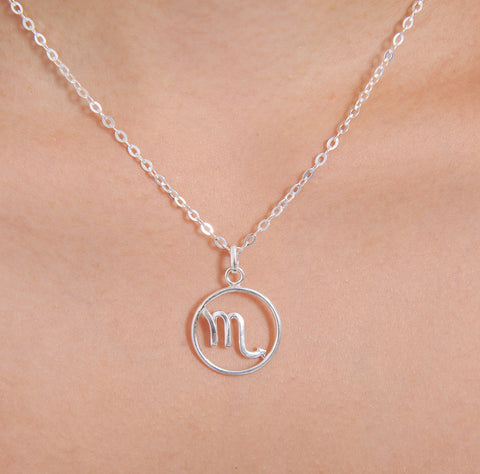 Scorpio Horoscope Sign Sterling Silver pendant necklace