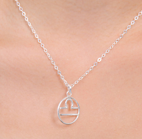 Libra Horoscope Sign Sterling Silver pendant necklace