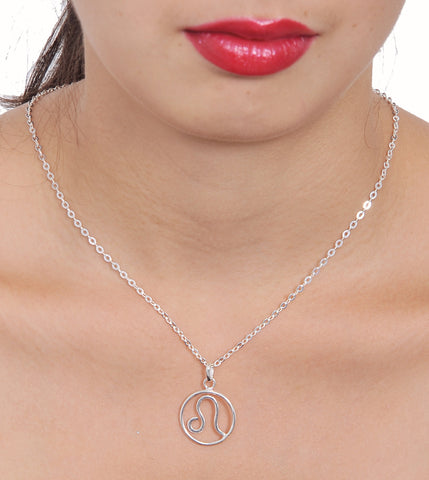 Zodiac Sign Leo Sterling Silver pendant necklace