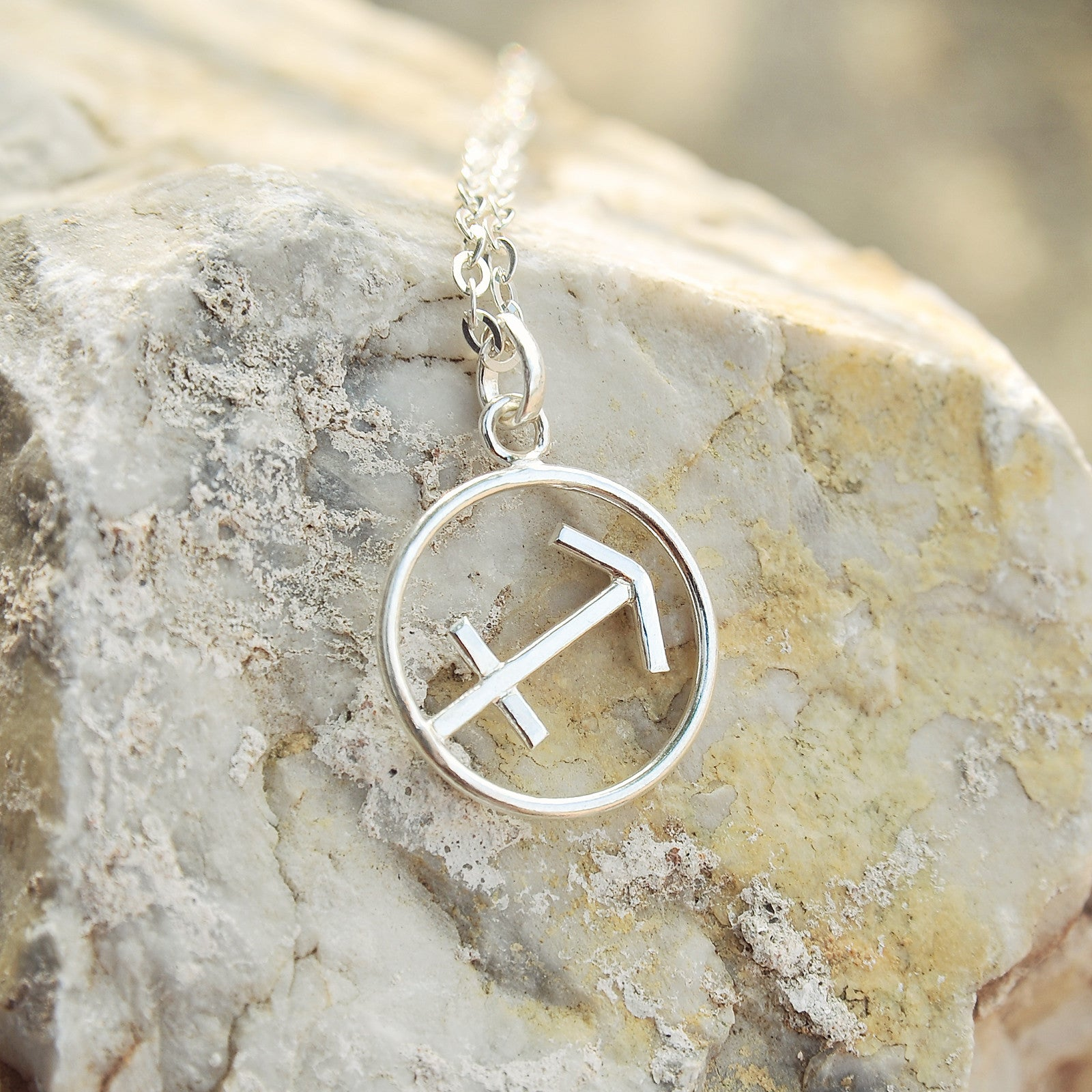 Sagittarius Horoscope Sign Sterling Silver pendant necklace