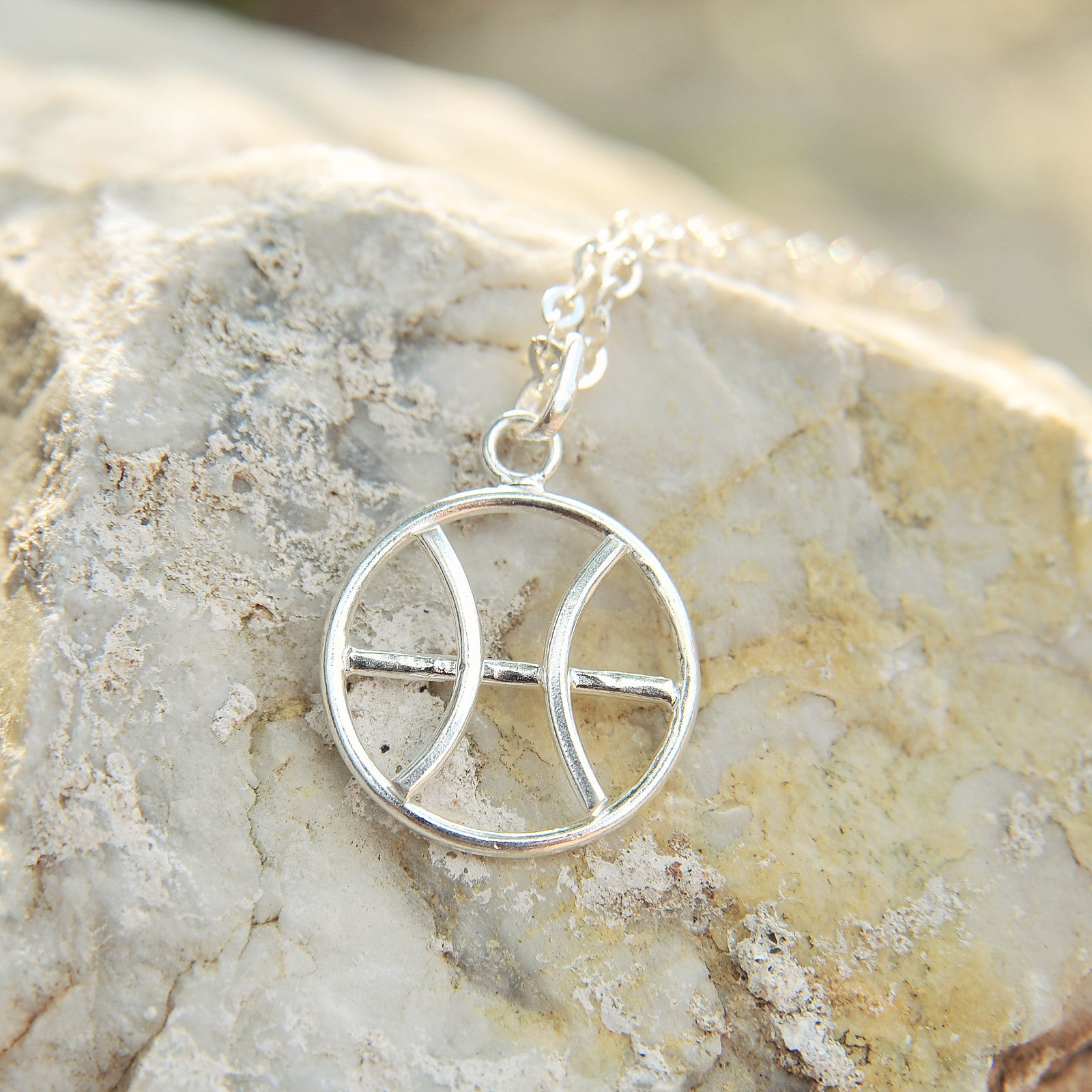 Pisces Horoscope Sign Sterling Silver pendant necklace