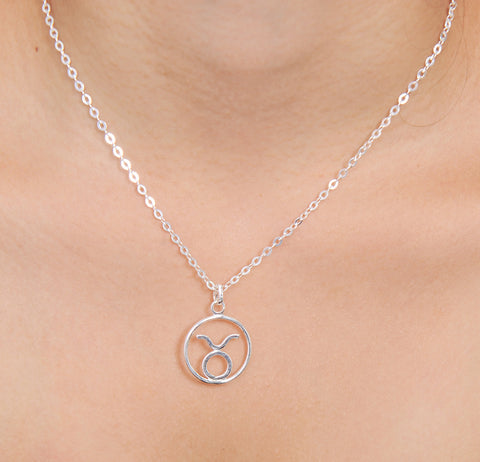Aquarius Horoscope Sign Sterling Silver pendant necklace