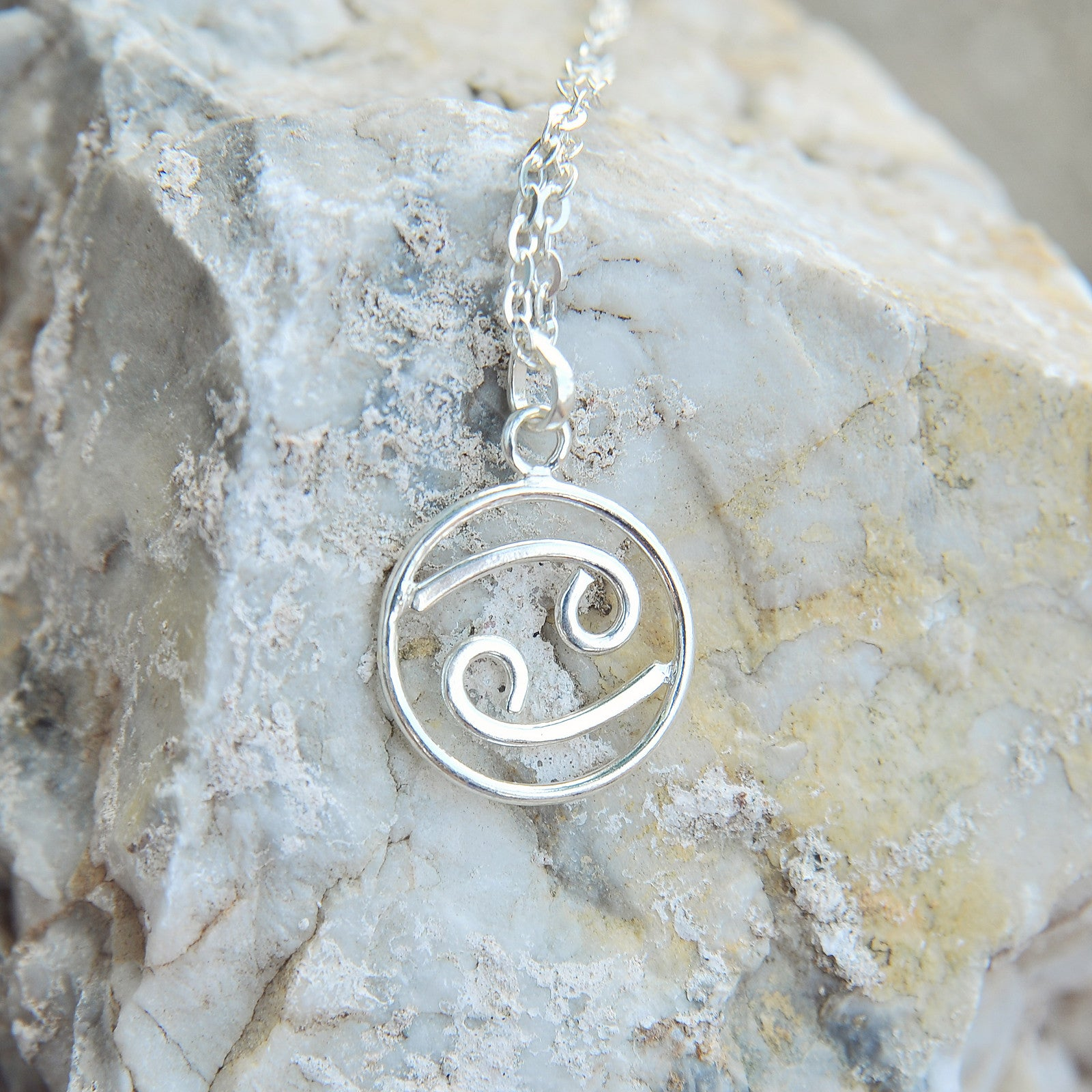 Cancer Horoscope Sign Sterling Silver pendant necklace