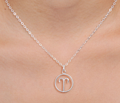 Aries Horoscope Sign Sterling Silver pendant necklace