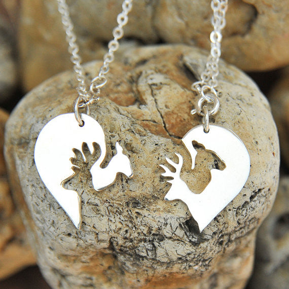 Sterling Silver Buck and Doe Heart Couples Set Necklaces