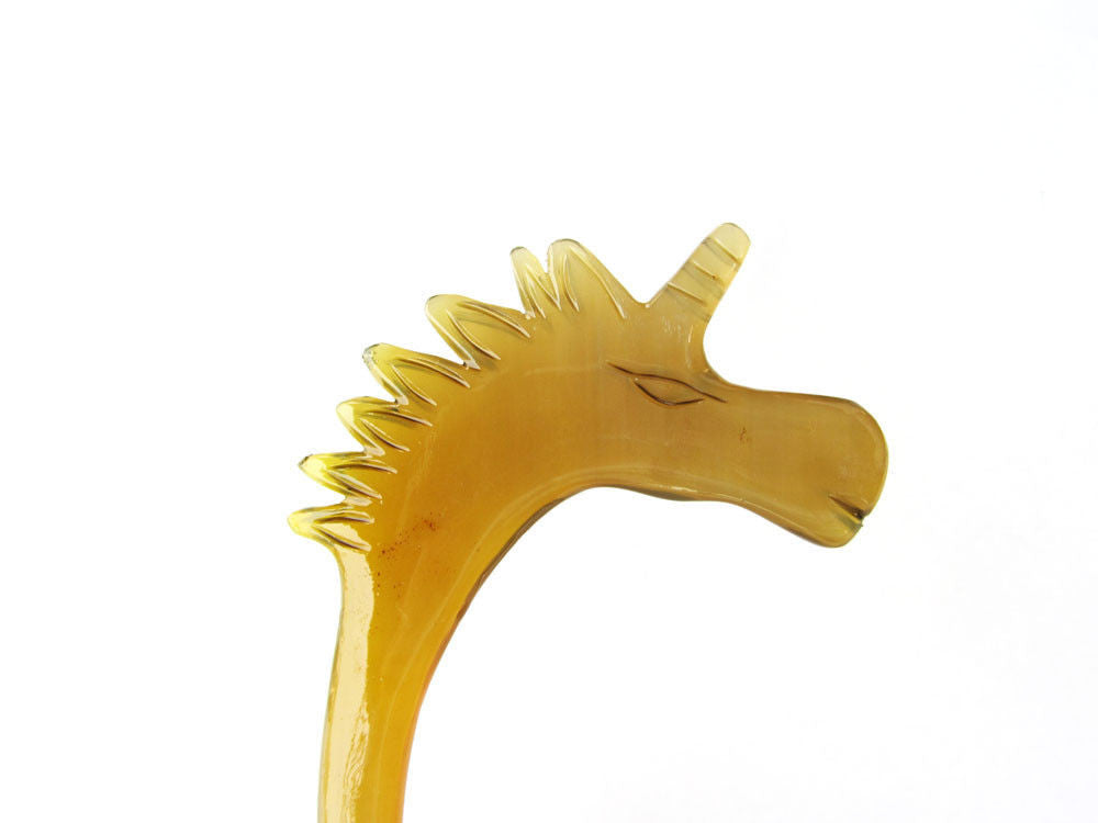 Buffalo Horn hair stick caved unicorn