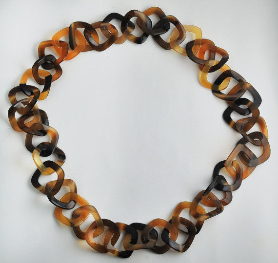 Black & amber buffalo horn necklace
