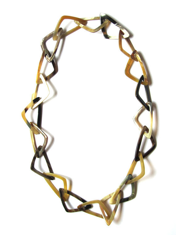 Triangle buffalo horn chain necklace