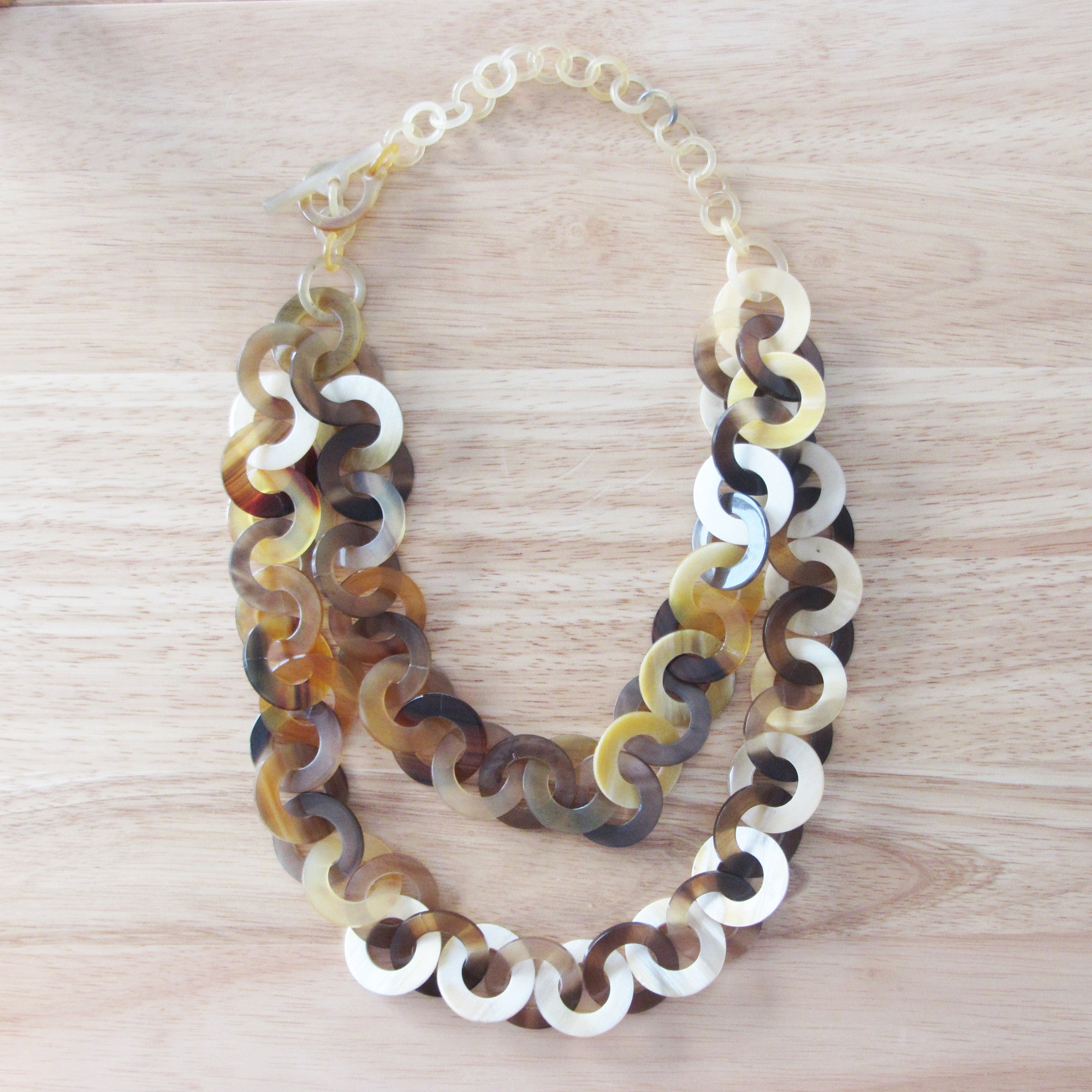 Charm necklace, layer link chain buffalo horn necklace