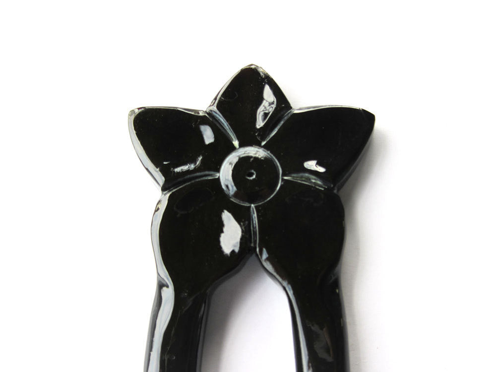 Black flower Buffalo Horn hair fork