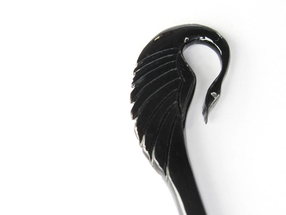 BLACK BUFFALO HORN CRANE BIRD HAIR STICK