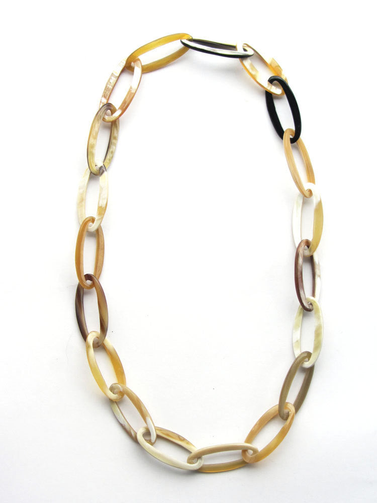Elegant buffalo horn oval chain necklace