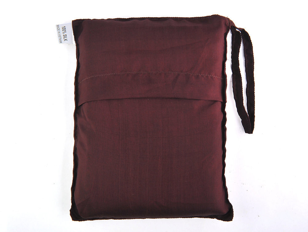 "Single Sleeping Bag Liner, Travel Sheet, Sleepsack Caput Mortuum brown 100% Pure handicraft Silk  83""x33"""