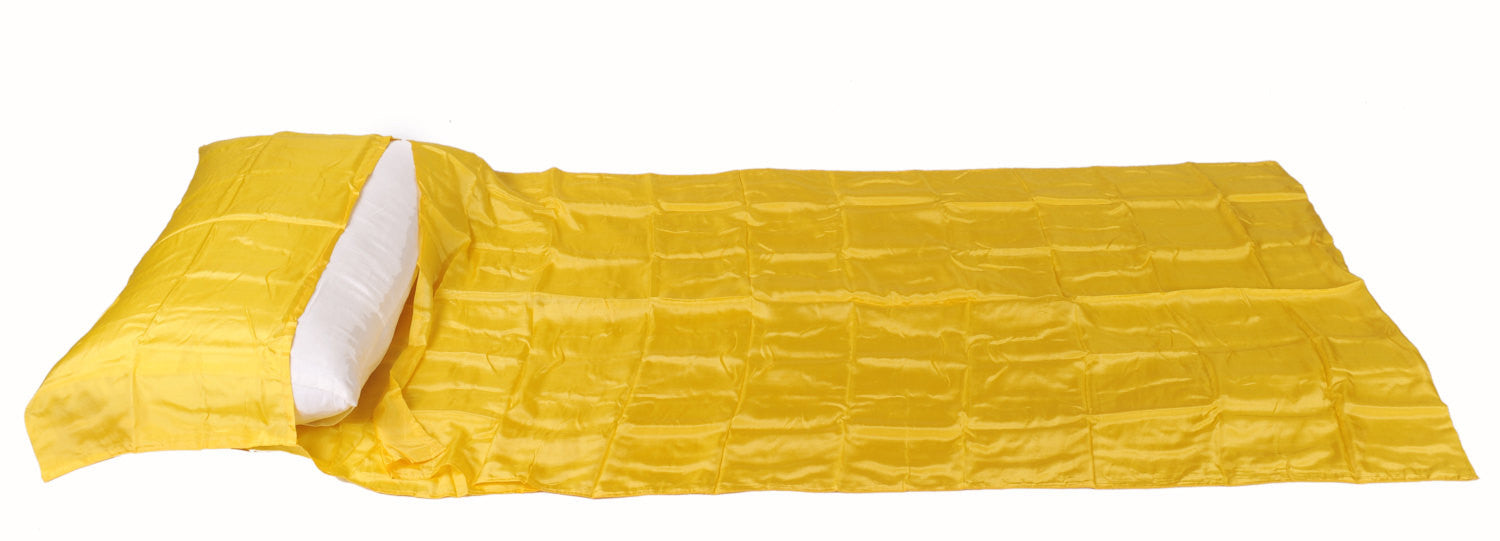 "Single Sleeping Bag Liner, Travel Sheet, Sleepsack  Yellow 100% Pure handicraft Silk  83""x33"""