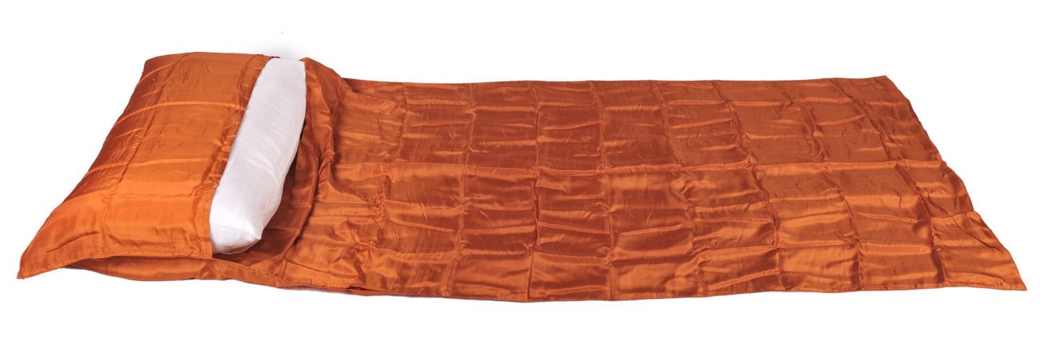 "Single Sleeping Bag Liner, Travel Sheet, Sleepsack  ORANGE 100% Pure handicraft Silk  83""x33"""