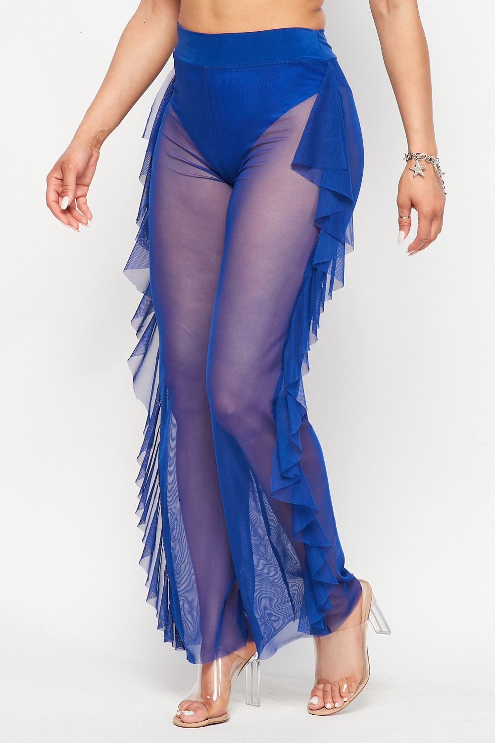 Hot See Through Mesh Ruffle Bottoms in Royal Blue - Fashion House USA