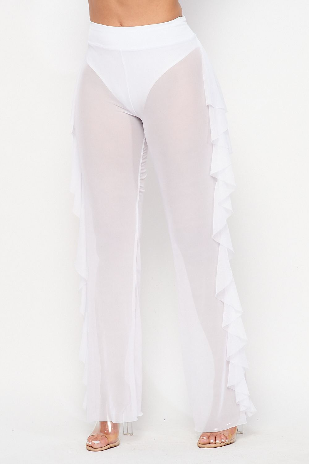 Hot See Through Mesh Ruffle Bottoms in White - Fashion House USA